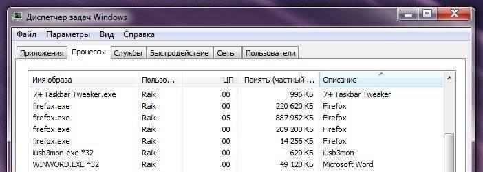 Четыре процесса Firefox в памяти