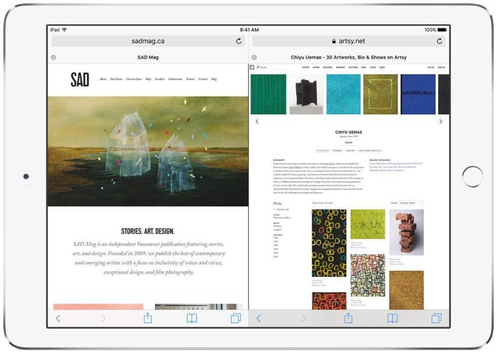 Разделенный экран браузера Сафари на iPad (фото)
